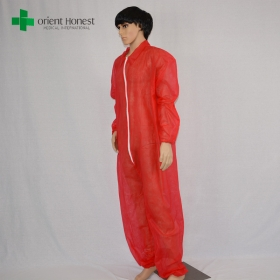 China V collar protective clothing coverall,red one time use protective coverall ,China plant protective coverall for painting factory