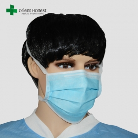 China Wholesale 3 ply tie-on face mask , hospital hygiene face mask , dentist mouth cover mask maker factory