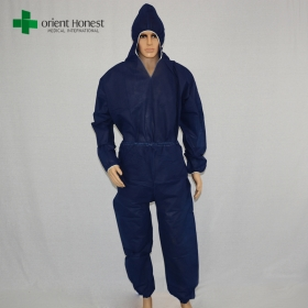 China best exporter for disposable sms coveralls,dark blue disposable coverall workwear, China manufacturer two piece SMS work overalls factory