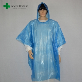 China blue plastic raincoat with hood,one time use clear rain poncho , colorful PE lightweight rain poncho factory