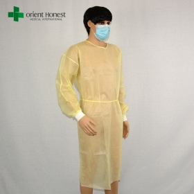 China cheap disposable isolation gown yellow,China manufacturer disposable medical gown,nonwoven hospital gowns factory