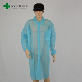 China cheap elastic cuffs lab coat manufacturer,disposable PP30g blue lab coat,China plant for single collar lab coats factory