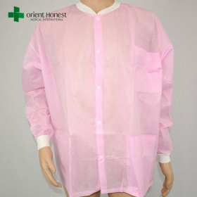 China cheap pink knit collar lab coat ,spp visitor coat for food factory,nonwoven lab coats in China factory