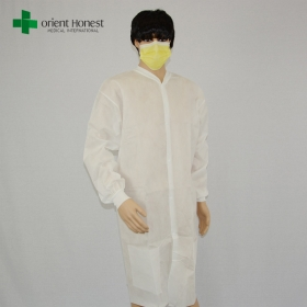 China cheap pp disposable lab coats,white PP30g antistatic lab coats,sterile packing disposable lab coat factory