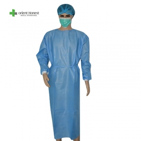 China disposable PP SMS PP+PE non woven green gowns with CE FDA ISO13485 factory