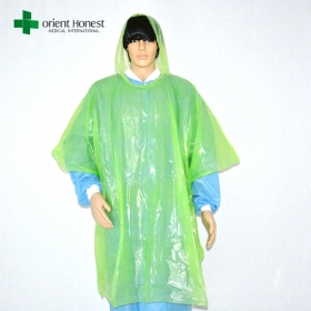 China disposable adult raincoat ponchos , disposable emergency raincoat poncho bulk , disposable plastic rain poncho factory
