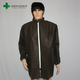 China disposable black lab coats exporter,disposable lab coat zipper front,stand collar lab coat disposable factory