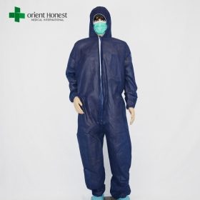 China disposable dark blue coverall zipper,disposable body suit suppliers,disposable breathable coverall factory