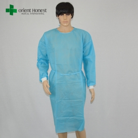 China disposable level1/2/3 isolation gowns SMS/PP+PE/PP non woven protective cloth with knit/elastic cuff factory