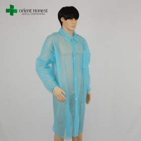China disposable uniform lab coat exporter,blue China disposable lab coat with collar,wholesales non-woven lab coat factory
