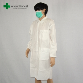 China disposable vistor coat with pocket in China,SF anti-static uniform lab coat,the best factory for water resistant lab coat factory