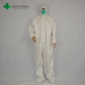 China disposable white coveralls with boot cover,chemical protective clothing,SF disposable clothes supplier factory