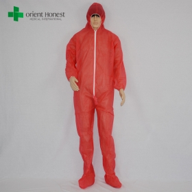 China disposable work suits manufacturer,disposable clothing with boots,disposable red coverall PP factory
