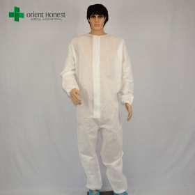 China disposables clothes, protective white coveralls ,SMS Coveralls with zipper front flap factory