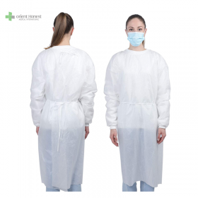 China for workshop tie on waist knitted cuffs isolation gown factory