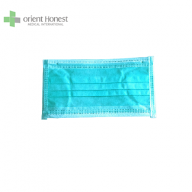 China green 3ply medical masks with inner earloop 3layers surgical masks bfe>95% factory