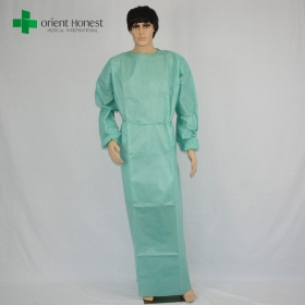 China green SMS reinforced surgical gown plant, hospital sterile operating gown, sterile packing reinforced surgical gown factory