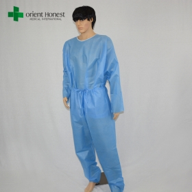 China high quality hospital two pieces disposable sms scrub suits and patient gown factory