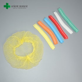 China medical consumables high quality colorful non-woven single or double elastic 19'' 20'' 21'' custom size disposable clip cap factory