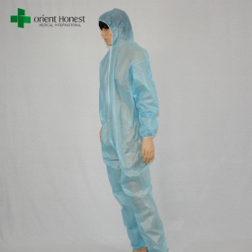 China non woven disposable water retardant coverall,light blue PE disposable coverall, China wholesaler disposable coverall with sleeve factory
