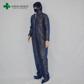 China nonwoven coverall with boots cover,non-woven protective clothing, blue protective clothing coverall factory
