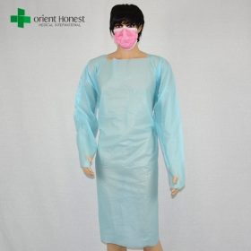 China plastic blue CPE isolation gown manufacturer,CPE diposable plastic surgical gown,waterproof CPE isolation gowns factory