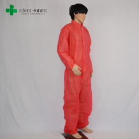 China red custom kids disposable coveralls,the best plant for disposable kids overalls,kids red disposable coveralls factory