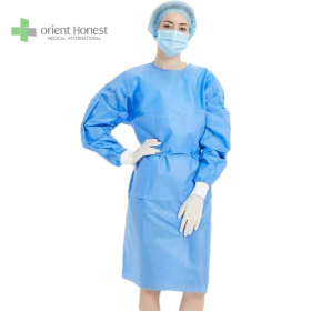 China tie on the neck and waist knitted cuffs CE certification disposable gowns factory