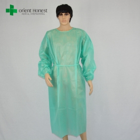 China waterproof isolation gown manufacturer, disposable gowns medical, plastic disposable gown green factory