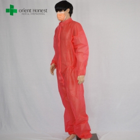 China wholesaler safety red clothing overalls,disposable safety working uniform,polypropylene safety workwear supplier factory
