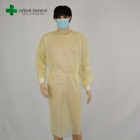China yellow pp isolation gown supplier,pp surgical gown for doctor,cheap disposable medical gowns factory